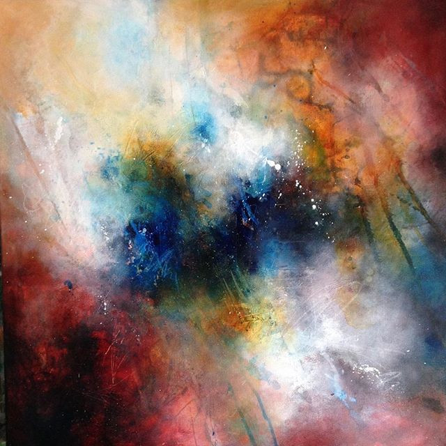 Out of the Blue #2 - Acrylic on canvas, abstract painting by Rachel Maritz