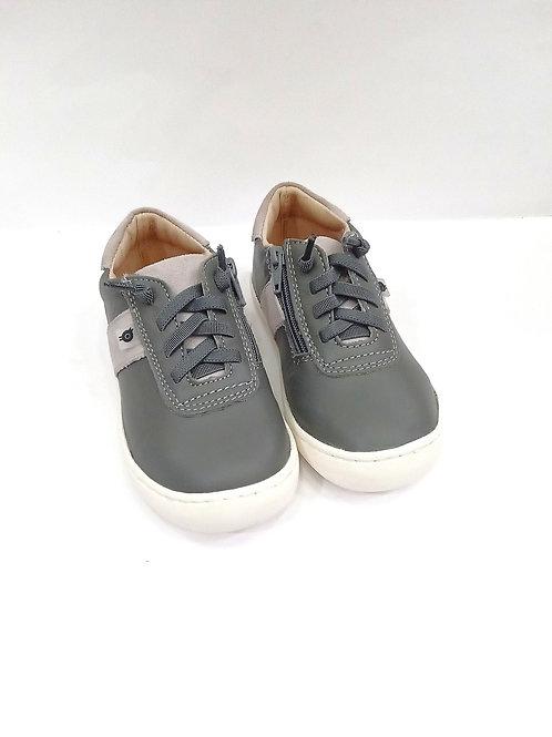 Scarpe bambino sneakers in pelle con lacci elastici e zip laterale Oldsoles