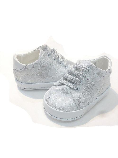 Scarpine neonata 9 - 12 mesi misura 19 sneakers pizzo argento