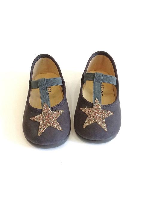 Scarpe ballerine bambina Batilas grigie camoscio plantare morbido stella multico