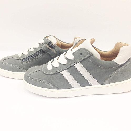 Scarpe bambino bambina sneakers grigie artigianali con plantare zip laterale