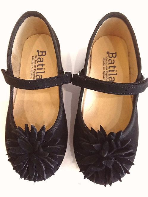 Scarpe ballerine bambina Batilas nere camoscio vegetale plantare morbido