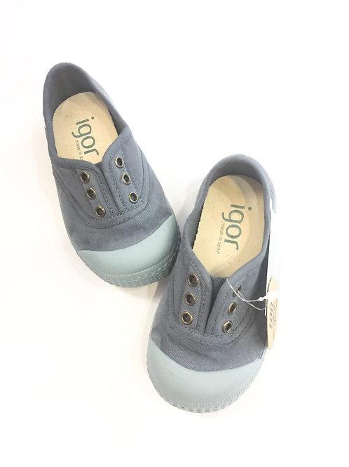 Scarpe bambino bambina sneakers in tela senza lacci igor berri blu polvere