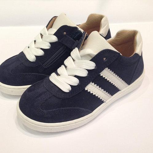 Scarpe bambino bambina sneakers blu artigianali con plantare zip laterale