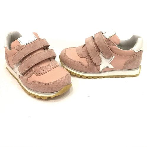 Scarpe bambina sneakers in pelle rosa apertura a strappoo