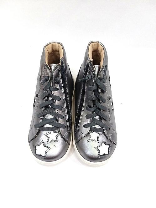 Scarpe bambina sneakers argento in pelle Oldsoles plantare e apertura laterale