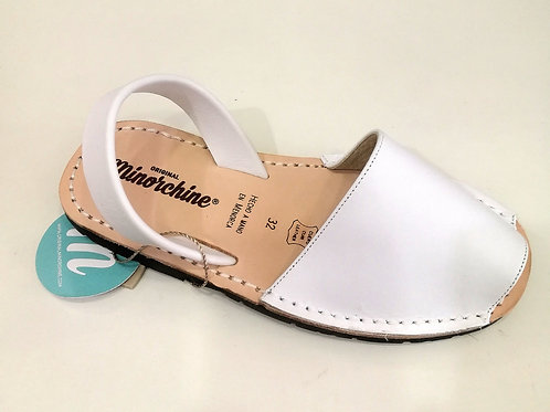 Sandali bambina bianchi in pelle e cuoio Minorchine Originali