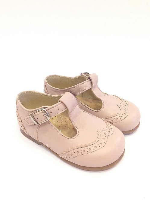 Scarpe bambina pelle rosa cipria con plantare
