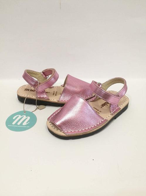Sandali bambina in pelle rosa satinata e cuoio Minorchine Originali