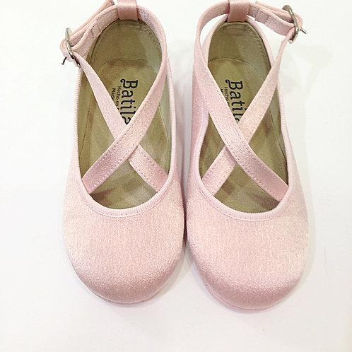 Scarpe ballerine Batilas rosa satin cotone naturale con plantare in lattice