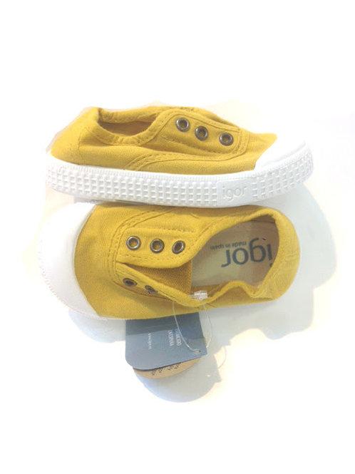 Scarpe bambino bambina sneakers in cotone senza lacci con soletta estra