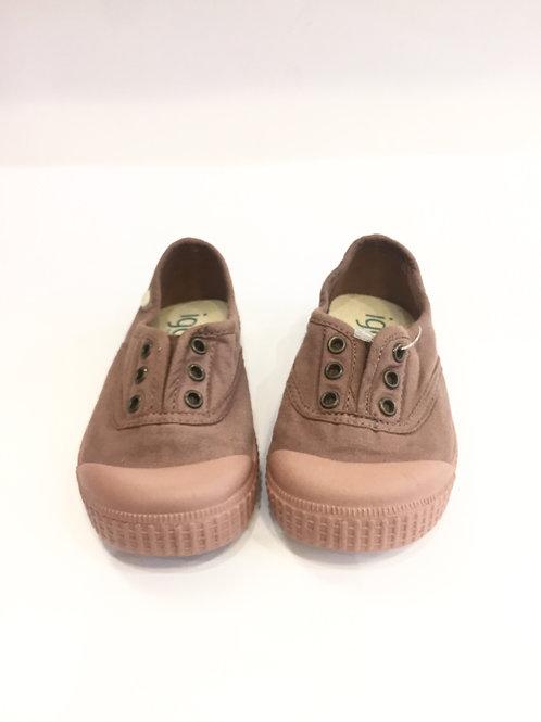 Scarpe estive bambina sneakers tela senza lacci Igor rosa scuro