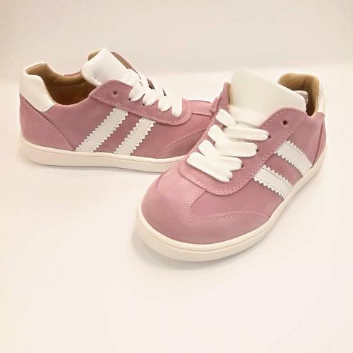 Scarpe bambina sneakers rosa artigianali con plantare apertura laterale con zip