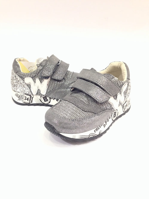 Scarpe bambina sneakers in pelle grigio + argento Balducci bfeel