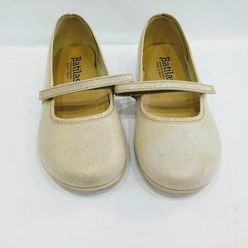 Scarpe ballerine bambina Batilas oro cotone naturale con plantare in lattice