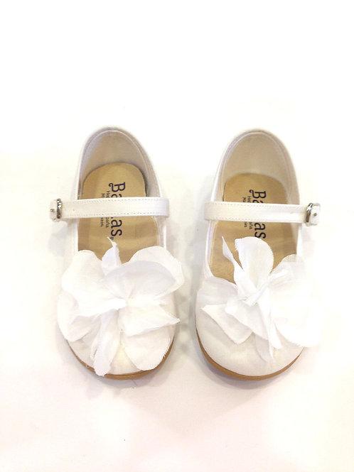 Scarpe ballerine bianche cerimonia comunione damigella cotone naturale organico