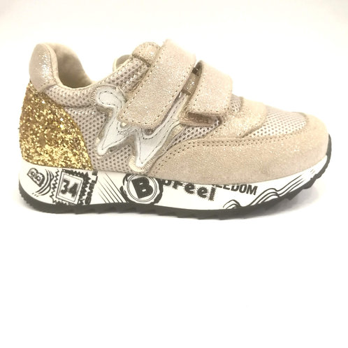 Scarpe bambina sneakers in pelle beige + oro Balducci bfeel apertura strappo