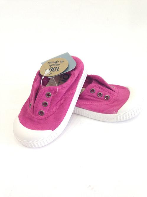 Scarpe bambina sneakers in cotone senza lacci con soletta estra