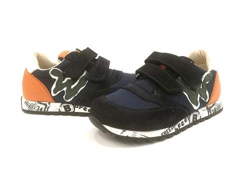 Scarpe bambino sneakers blu arancio Balducci bfeel apertura strappo