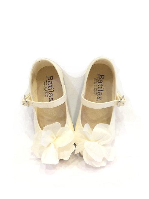 Scarpe ballerine avorio beige cerimonia comunione damigella cotone naturale