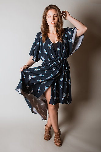 Gathered Wrap Dress