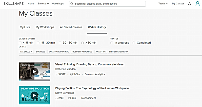 My Classes section in Skillshare