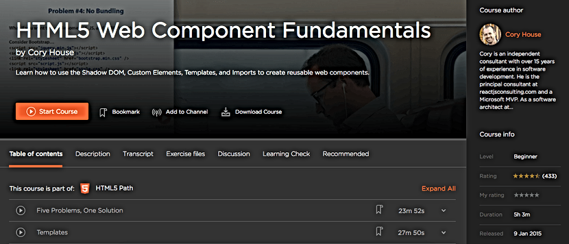 Pluralsight Logged in course page