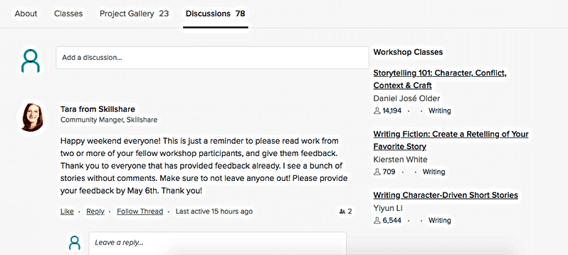 Skillshare class discussion page