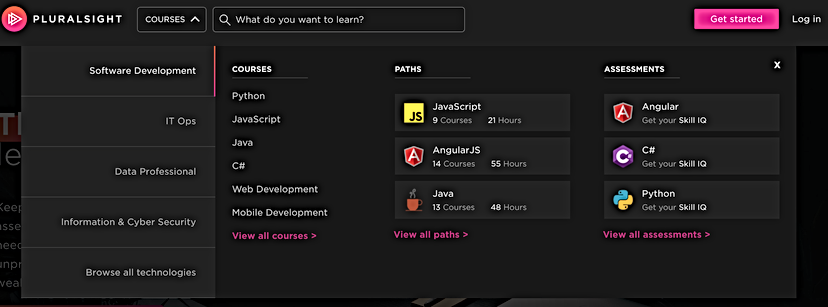 Pluralsight couses page