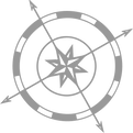 small gray compass for guide logo