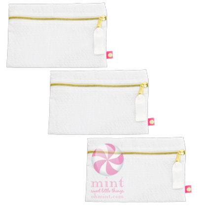 White Seersucker Cosmo Bag by Mint