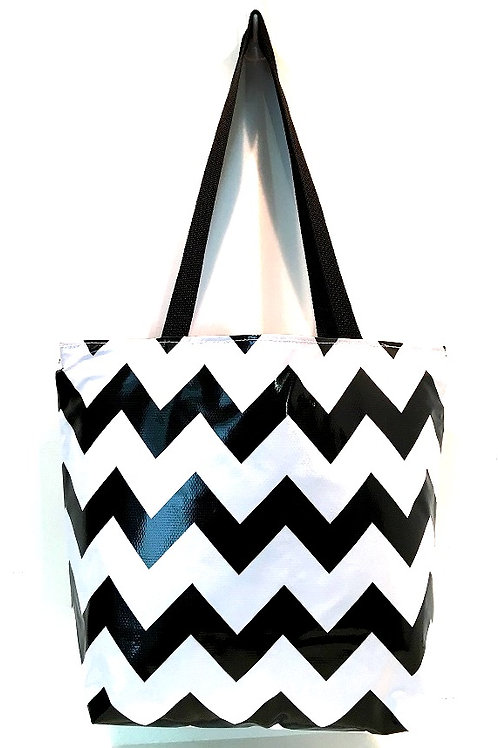 Oilcloth Large Tote -  Chevron Black