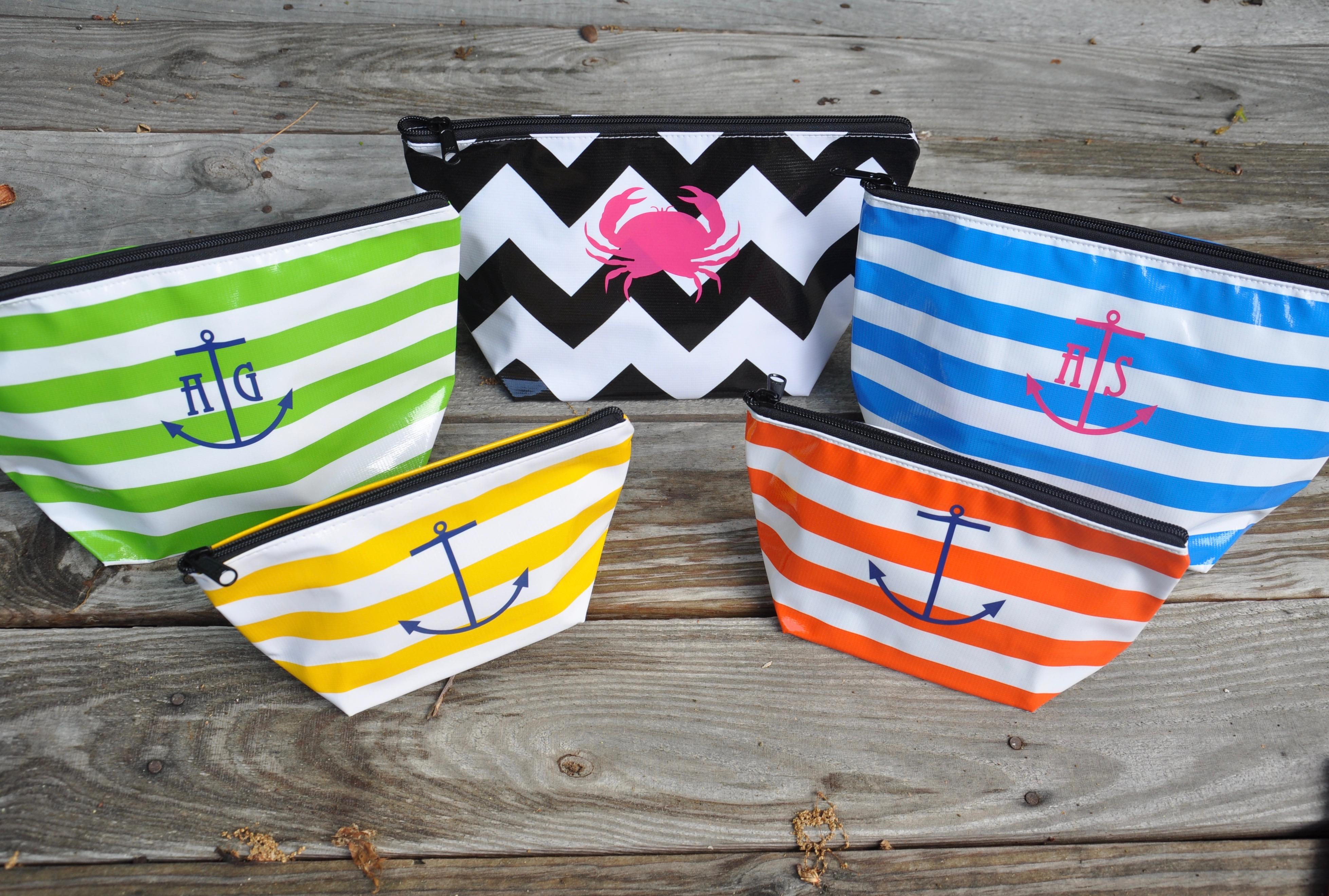 Oilcloth zip pouches