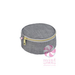 "Grey Chambray 6"" Button Bag by Mint"