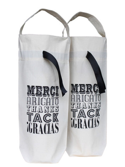 Canvas Thank You Wine Bags 2 pack