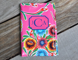 Oilcloth notepad with monogram.