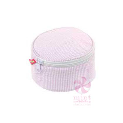 "Pink Seersucker 6"" Button Bag by Mint"