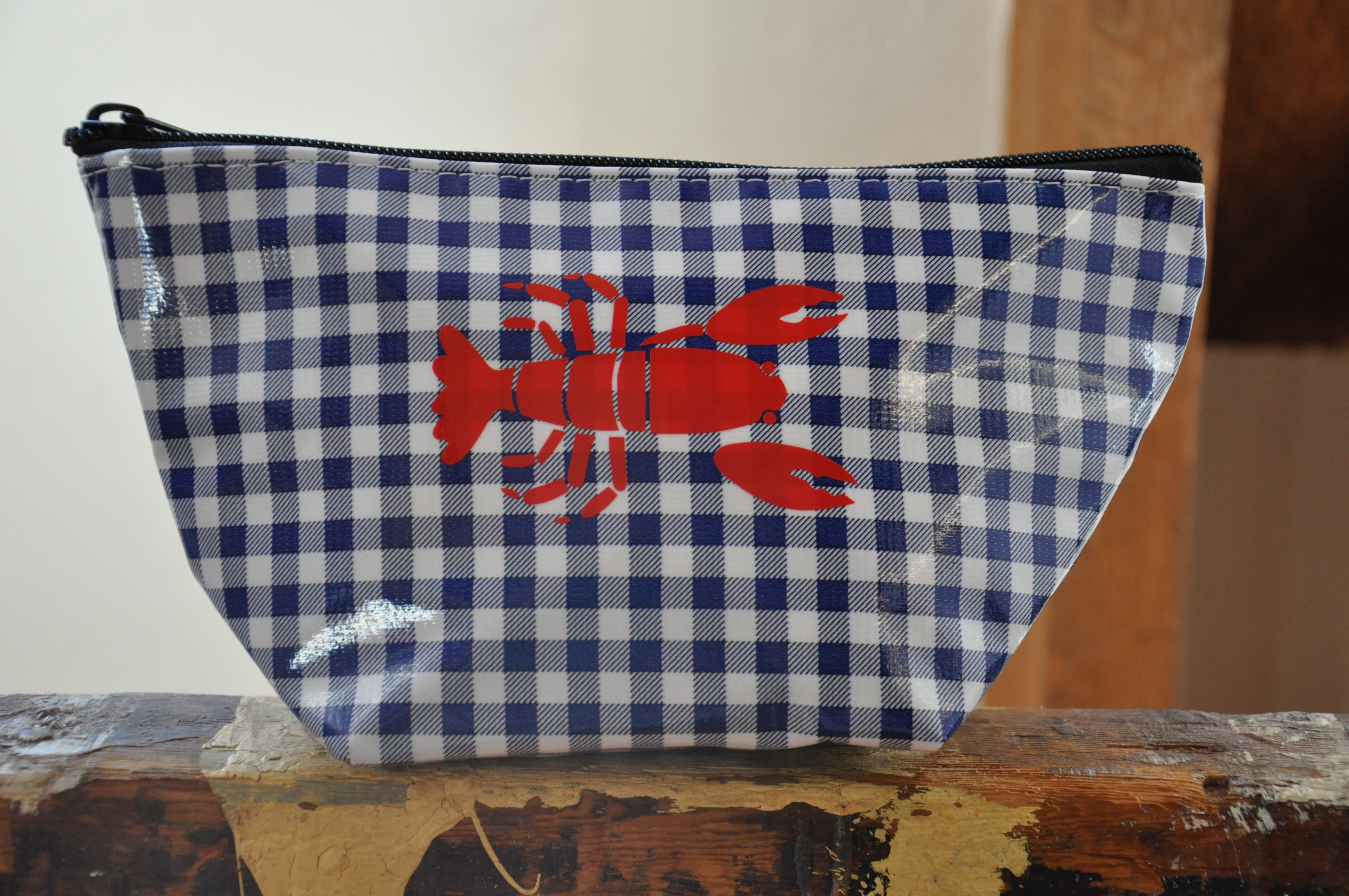 Oilcloth Zip Pouch Navy gingham