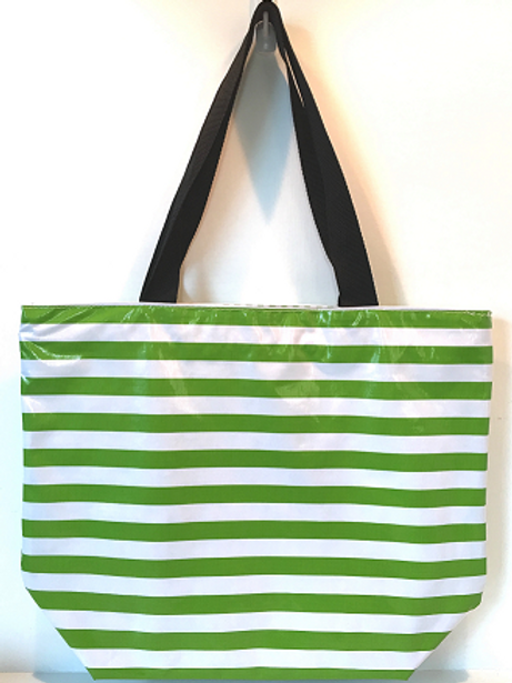 Oilcloth Large Tote -  Green Stripe