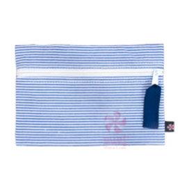 Navy Seersucker Cosmo Bag by Mint