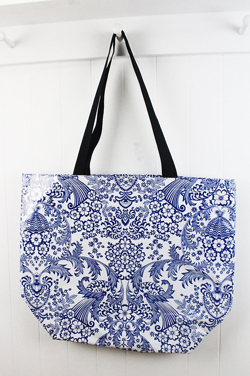 Oilcloth Medium Zip Tote - Blue Lace
