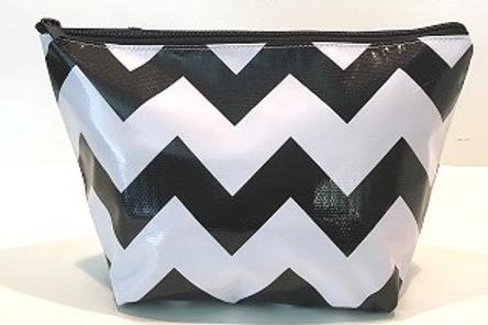 Zipper Cosmetic Bag - Large - Black Chevron