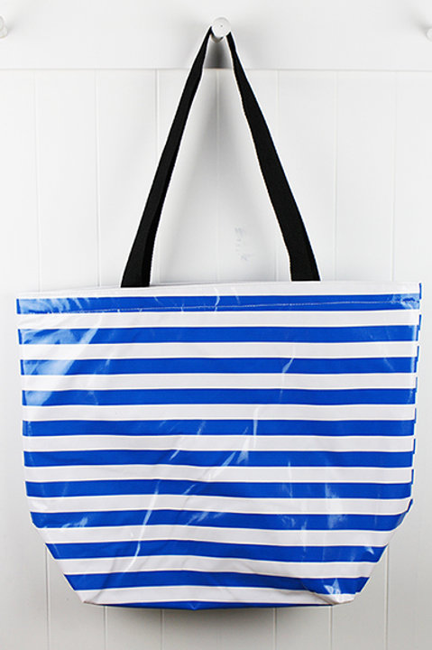 Oilcloth Large Tote -  Blue Stripe