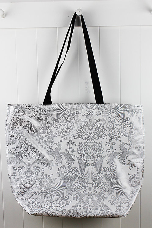 Oilcloth Medium Zip Tote - Silver Lace
