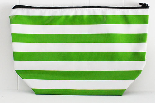 Zipper Cosmetic Bag - Large - Green Stripe