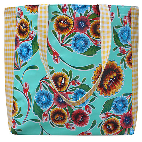 Oilcloth Market Tote -  One Size - Aqua Gingham