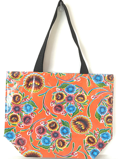 Oilcloth Large Tote -  Orange Flower