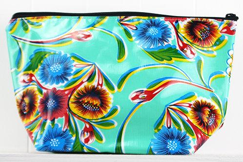 Zipper Cosmetic Bag - Medium - Aqua Flower