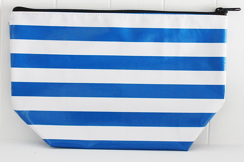 Zipper Cosmetic Bag - Large - Blue Stripe