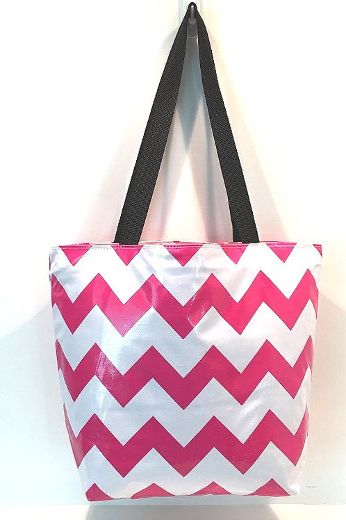 Oilcloth Large Tote -  Chevron Pink